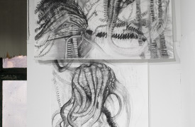 Joianne Bittle, Crinoid (Indiana) and Crinoid (West Texas) sections of Back to the Drawing Board Fossil Matrix Wall, 2014